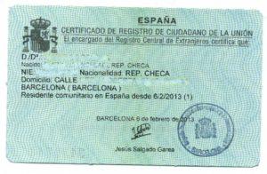 El número de identificación de extranjero (NIE)